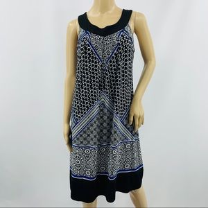 Enfocus Studio Blue Black White Sleeveless Dress